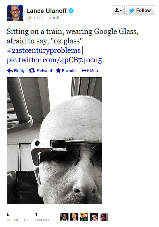 "'Sitting on a train, wearing Google Glass, afraid to say, ""ok glass""'."