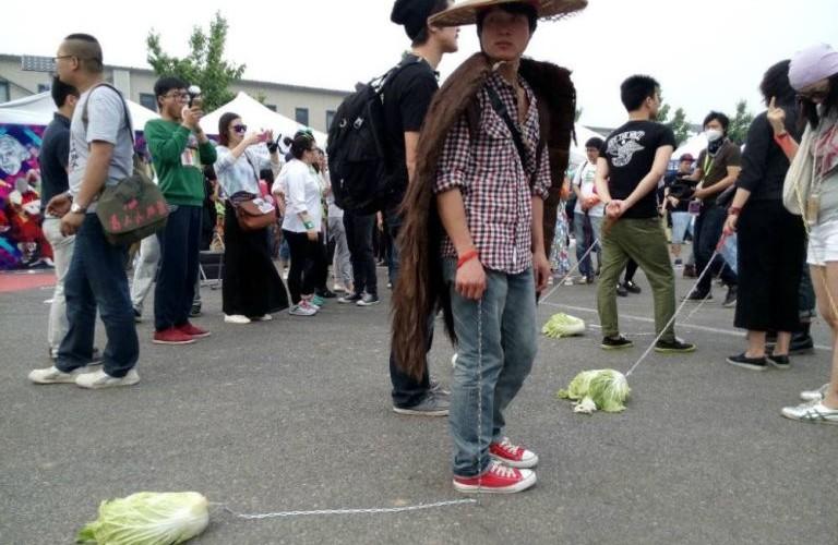 Chinese teenagers walk cab
