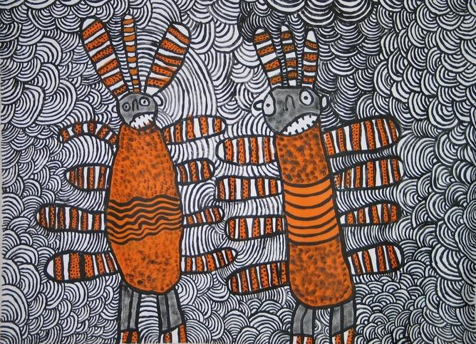 Nura Rupert, Australia, c.1933. Pitjantjatjara people, South Australia, Mamu (Spooky spirits) 2006, Ernabella, South Australia, synthetic polymer paint on linen 92x122cm.